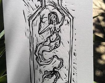 Mermaid in bottle, linocut print, hand made, linocut