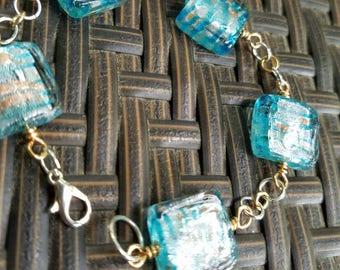 Large Blue Glass Bracelet