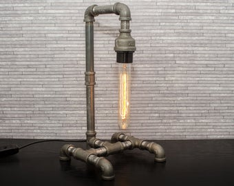 Pipe Lamp, Steampunk Pipe Lamp, Steampunk Lamp, Water Pipe Lamp, Edison Pipe Lamp, Free UK Delivery.