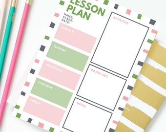 Lesson Plan Template - Pink/Green