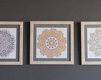 Set of decorative framed mandalas of quality pictures
