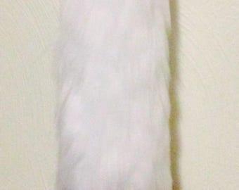 White/Rainbow yarn tail