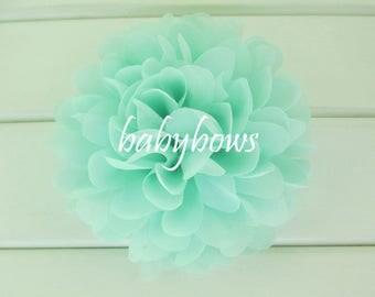 2 Mint Green Big Flower Baby Girl Flower Hair Clips 1 Pair
