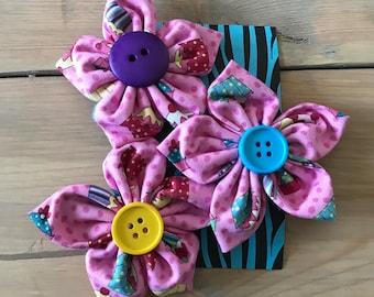 Hair Clip, Cupcake Hair Clip, Children's Hair Accessories, Fabric Flower Clip, Handmade