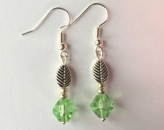 Leaf Earrings, Green Silver Earrings, Green faceted earrings, Pretty Earrings, Birthday Gift, Gift For Her, UK Shop