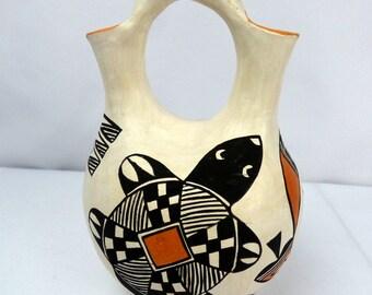Native American Indian Acoma Pottery Southwest Wedding Vase Signed