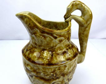 Rockingham Bennington Yellow Ware Hound Handle Pitcher Vermont Block Hunt Scene