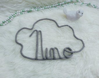 First name in cloud mural room baby birth gift knitting wool