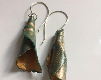 Green leaf earrings, bronze leaf earrings, Japanese style, free shipping, polymer clay