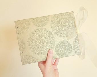 Glitter Mandala Handmade Notebook - A5 Landscape - Coptic Stitch