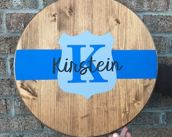 Thin Blue Line, Badge & Name - Wood sign