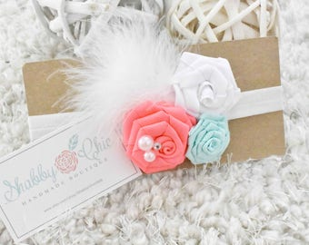 Pink Neon, Mint and White Rosettes Ribbon Flower Baby Headband/Feathers/ FOE with Sliders