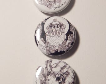ABC Animal Skulls-Pins- set of 3