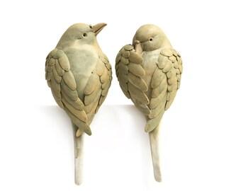 Couple Bird, Ceramic, Art Sculpture/ Natural/ Handmade/Home Decor/Gift/Wedding