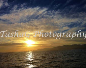 Dark Sunset and Ocean Landscape in Los Angeles Photography Print or Canvas