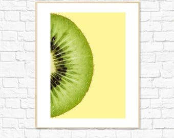 Kiwi Print, Yellow, Food Art, Fruit Print, Photography, Kitchen Dining Room Decor, Colorful Minimalist Printable Wall Art, Instant Download