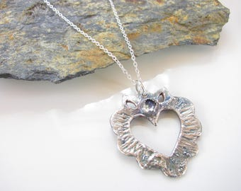 Sacred Heart - Silver Necklace - Fine Silver Pendant with Moonstone - Sterling Silver Cable Chain - Unique Design - Ready to Ship