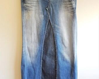 Denim maxi skirt, denim skirt, long denim skirt, blue jean skirt, jean skirt, 70s clothing, flared skirt, hippie, long skirt, maxi skirt,