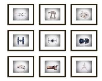 Set of 9 Star Wars Aircrafts wall prints, Star Wars , boys room decor, kids room decor, Star wars prints, Star wars decor, Star wars Art