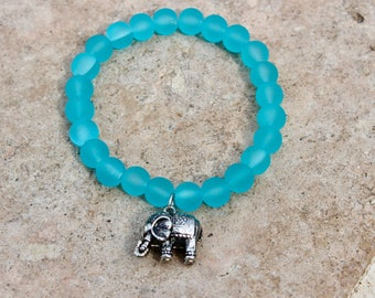 Aqua sea glass stretch bracelet with elephant charm
