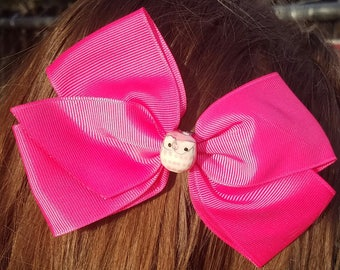 Pink Hair Bow with Glass Owl Bead Center