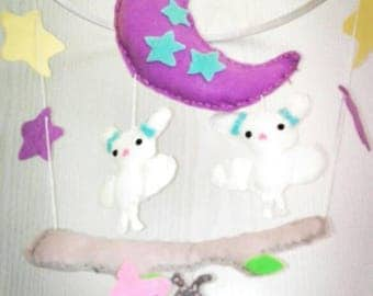 Baby mobile bats felt, baby shower, gift