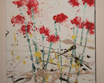 Original abstract painting hand made floral canvas