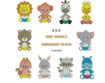 Baby Animals Embroidery Designs   Safari Machine Embroidery Designs   Zoo Animal Embroidery Designs   Baby Blanket Embroidery Downloads