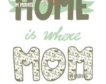 Home is where mom is - Mother's Day Quote Downloadable Digital Print