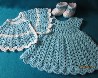 Crocheted Baby Dress and Cape Set