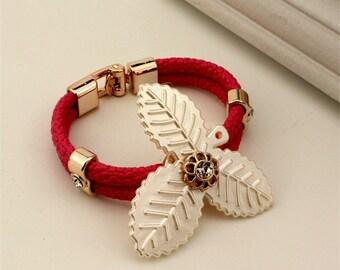 European  Weave Bracelet Exquisite Leaf Shape Design Bracelet Jewelry