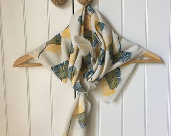 Hand Printed Loom Cotton Scarf,Gingko Biloba Leaf Print,Eco Friendly ,Carved Rubber Stamp,Unique Gifts for Women