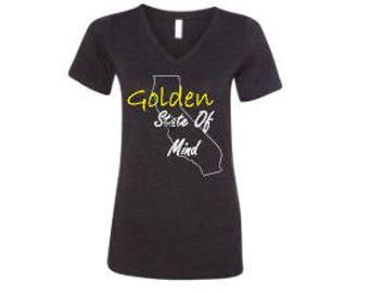 Golden State Of Mind V Neck Tri Blend Tee