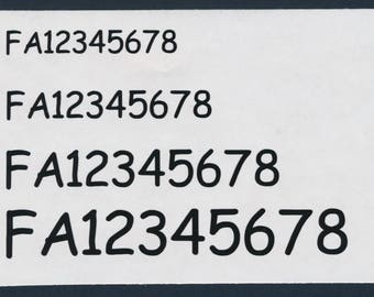 Drone FAA Registration Number Decal Sheet