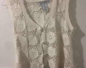 Vintage crochet vest size small