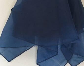 Sheer Navy Blue Vintage Scarf