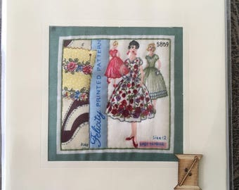 Hand Crafted Quilted Stitched Cards Birthday Thank You Thinking Of You Vintage Felicity Sewing pattern