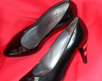 Shoes Polish Charles Jourdan P 37 Vintage 80's black leather heels and silver metal