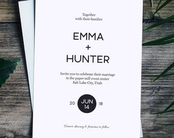 Wedding Invitation Printable, Modern Wedding Invitation, Wedding Template, Editable Wedding Invitation, PDF Instant Download, I04