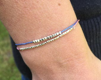 Duo of Adjustable sterling silver bead bracelets - Frienship bracelet - Silk bracelet - Minimalist bracelet - Thank you gift
