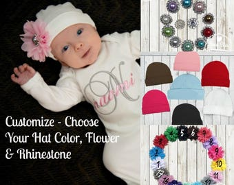 Baby Girl Hat Flower Rhinestone, Custom Beanie Hat, Newborn Hat, Baby Girl,  Custom Baby Hat - Choose HAT, FLOWER & RHINESTONE