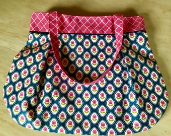 Pleated Lined Bag // Tote Bag //Purse // Diaper Bag // Beach Bag //Ready to ship