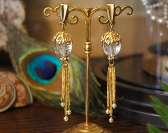 Earrings Peacock gold, baroque Pearl old glass paste / / Transparent and gold Peacock Earrings Paris handmade vintage