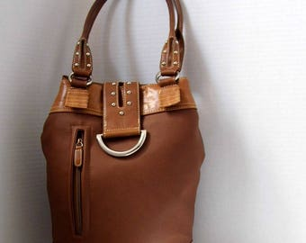Hobo Bag, Brown Hobo Bag, Brown Shoulder Bag, Vegan Leather Hobo Purse, Bucket Handbag