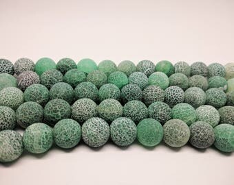12mm Frosted Agate Beads 12mm Green Agate Beads 12mm Round Cracked Agate Beads Gemstone Beads Jewelry Making Frosted Mala Beads DIY Beads