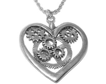 Large Steampunk Heart Gothic Necklace Pendant with Chain