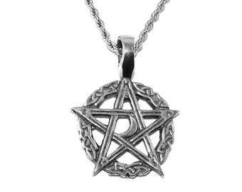 Celtic Moon Pentagram (Pentacle) Pewter Pendant Necklace with Chain