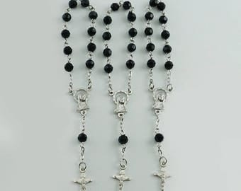 24pcs Decade Rosaries Black Acrylic Beads Silver Plated Mini Rosaries - JA050Blk
