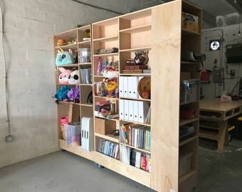 Large Rolling Wood Shelving Unit
