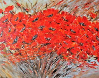 Warm summer. Original oil painting on canvas, abstraction, art and collecting, red flower, impasto art on canvas by Alekseenko 32x24 inches